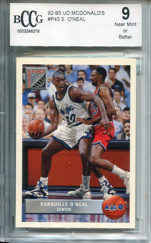 Shaquille O'Neal 1992-93 Upper Deck Rookie Card #P43  (BCCG) Graded NM 9