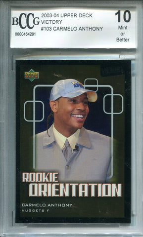 Carmelo Anthony 03-04 Upper Deck Victory #103 (BCCG) Graded 10 Mint