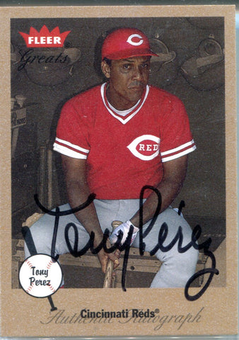 Tony Perez 2002 Fleer Greats Autographed Card