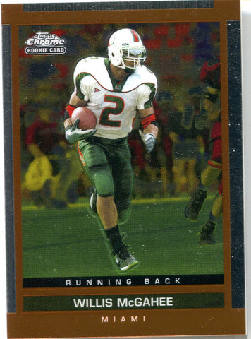 Willis McGahee 2003 Topps Chrome Unsigned Rookie Card