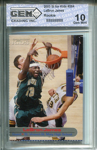 Lebron James 2003 SI For kids #264 Rookie Card (GEM) Grade 10