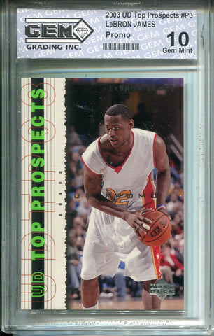 Lebron James 2003 UD Top Prospects #P3 Promo Rookie Card (GEM) Grade 10