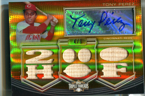 Tony Perez 2010 Topps Triple Threads Gold Autographed Card #4/9
