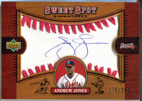 Andruw Jones 2002 Upper Deck  Sweet Spot Signatures Autographed Card #176/291