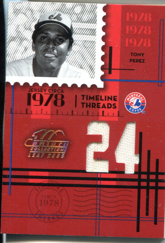 Tony Perez 2004 Donruss Century Collection Game-Used Jersey Card