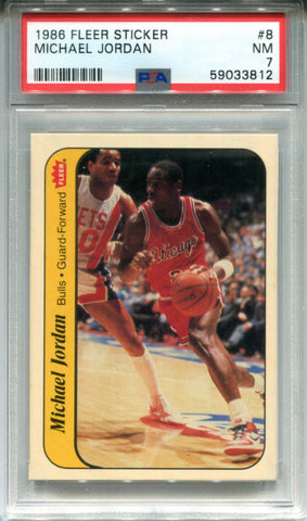Michael Jordan 1986 Fleer Sticker Rookie Card #8 (PSA)