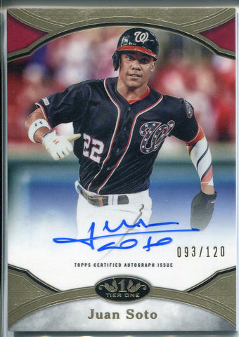 Juan Soto Autographed 2020 Topps Tier One Prime Performers Card 93/120