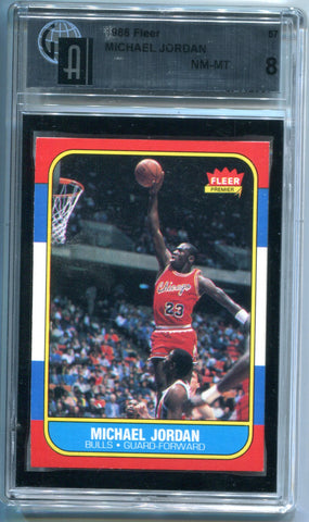 Michael Jordan 1986 Fleer Rookie #57 Card (GA NM-MT 8)