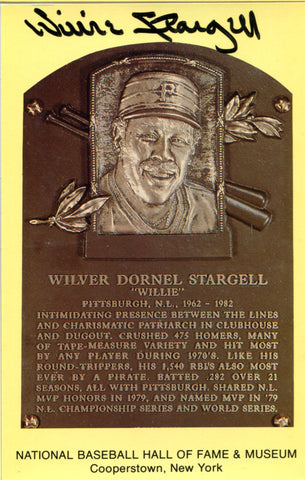 Willie Stargell Autographed Hall of Fame Plaque