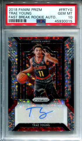 Trae Young 2018-19 Panini Prizm Rookie Card GEM MT 10 (PSA)