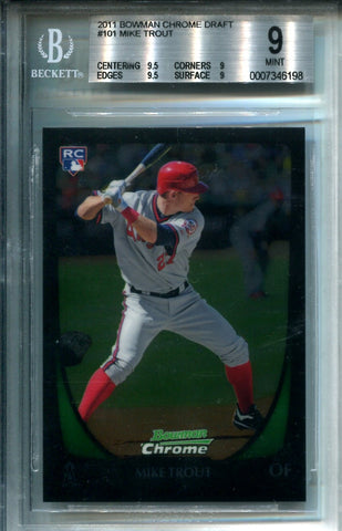 Mike Trout 2011 Bowman Chrome Draft Card #101 9 MT (Beckett)