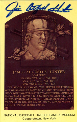 Jim Catfish Hunter Autographed Hall of Fame Plaque