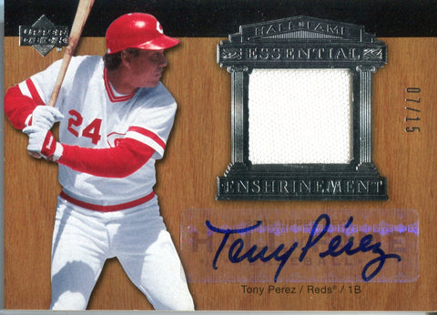 Tony Perez 2005 Upper Deck Essential Enshrinement Relic/Autographed Card #7/15
