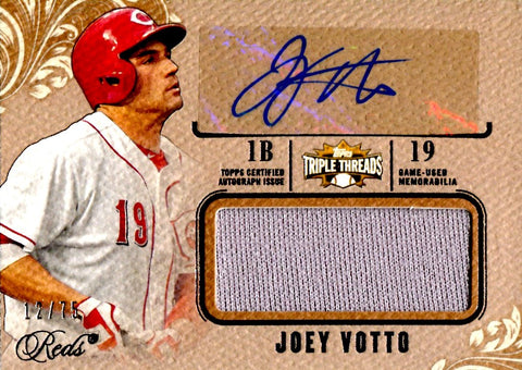 Joey Votto 2014 Topps Triple Threads Game-Used/Autographed Card #12/75