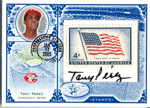 Tony Perez 2004 Donruss Playoff Postage Stamp/ Autographed Card  #1/24