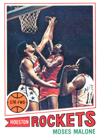 Moses Malone Unsigned 1977 Topps Card