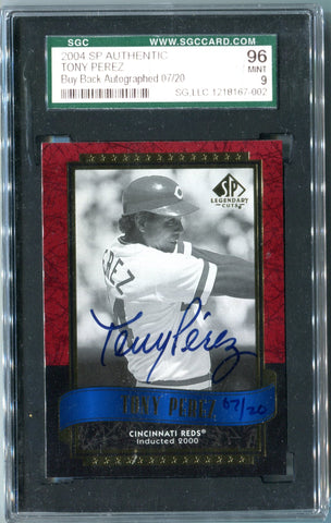Tony Perez 2004 SP Authentic Autographed Card (SGC)