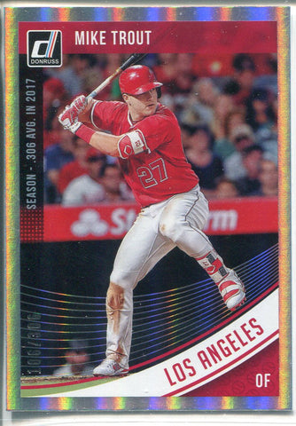 Mike Trout 2018 Panini Donruss Holo Foil Refractor Card 106/306