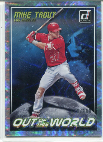 Mike Trout 2018 Panini Donruss Out Of This World Foil Refractor Card 689/999