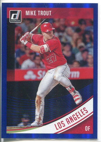 Mike Trout 2018 Panini Donruss Blue Foil Refractor Card #155