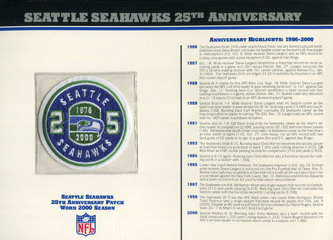 Seattle Seahawks Unsigned 25th Anniversary Patch with Card