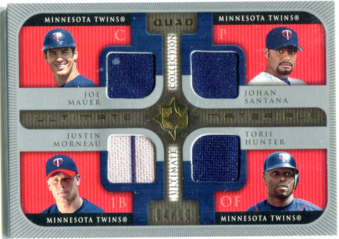 Joe Mauer, Johan Santana, Justin Morneau, & Torii Hunter 2005 Ultimate Materials Quad Relics #4/10