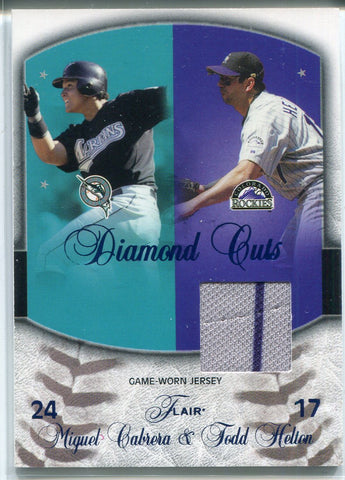 Miguel Cabrera & Todd Helton 2005 Fleer Diamond Cuts Game Used Jersey Card