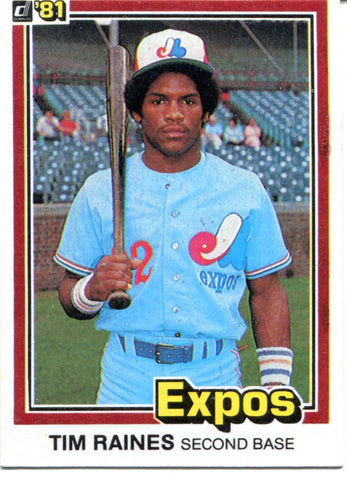 Tim Raines 1981 Donruss Unsigned Card