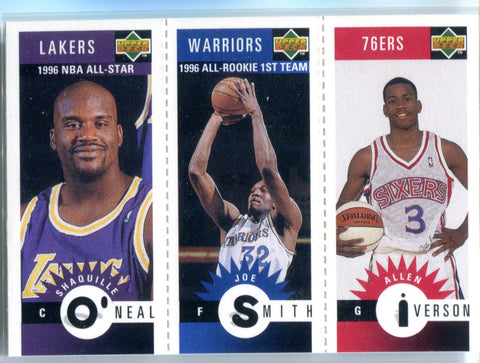 Shaquille O'Neil, Joe Smith, & Allen Iverson 1996 Unsigned Combo Card