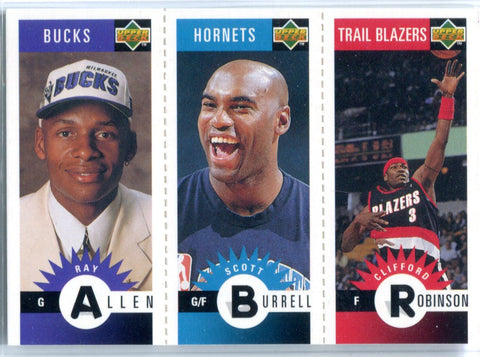 Ray Allen, Scott Burrell, & Clifford Robinson 1996 Unsigned Upper Deck Combo Card