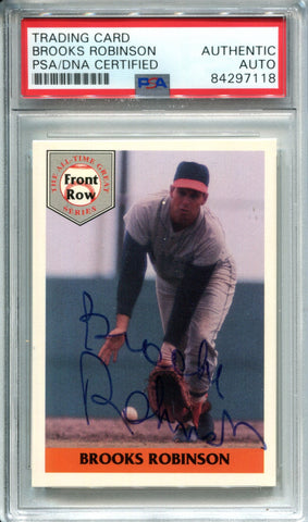 Brooks Robinson Autographed 1992 Front Row Card (PSA)