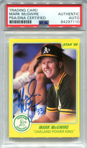 Mark McGwire Autographed 1988 Star Card (PSA)