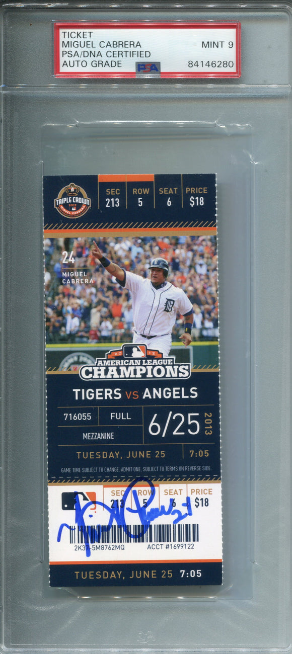 Miguel Cabrera Autographed June 25, 2013 Home Run Ticket (PSA 9)