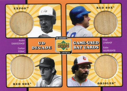Andre Dawson, Fred Lynn, Carlton Fisk, Eddie Murray Upper Deck Wood Bat Card
