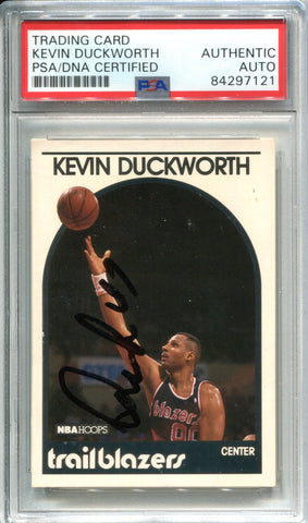 Kevin Duckworth Autographed 1989 NBA Hoops Card (PSA)