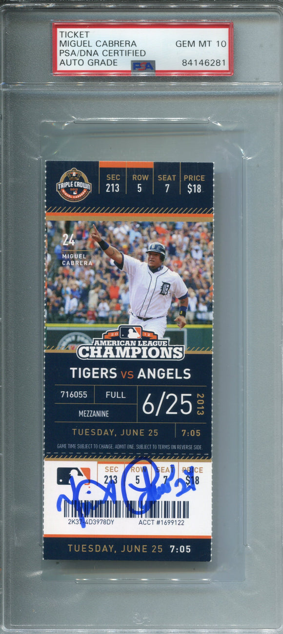 Miguel Cabrera Autographed June 25, 2013 Home Run Ticket (PSA 10)