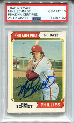 Mike Schmidt Autographed 1974 Topps Card (PSA)