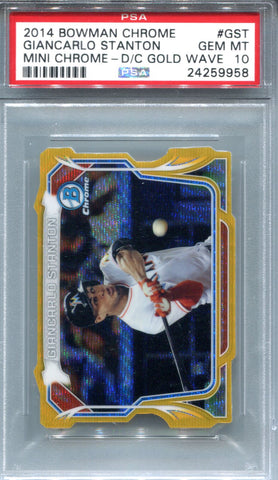 Giancarlo Stanton 2014 Bowman Chrome Mini Chrome D/C Gold Wave Gem #24/50MT 10 (PSA)
