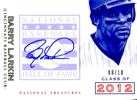 Barry Larkin 2014 Panini National Treasures Autographed Card #8/10