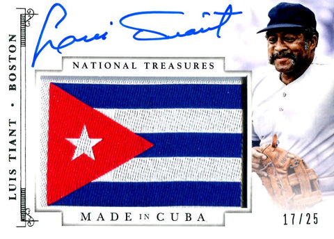 Luis Tiant 2014 Panini National Treasures Autographed Card #17/25