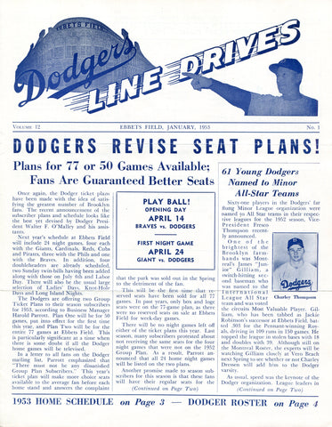 Brooklyn Dodgers Lines Drives Program 1953 Volume 12 No. 1