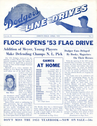 Brooklyn Dodgers Lines Drives Program 1953 Volume 12 No. 2