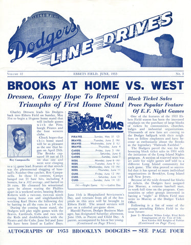 Brooklyn Dodgers Lines Drives Program 1953 Volume 12 No. 3 Campanella