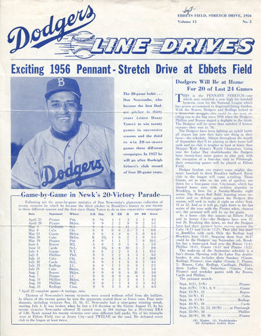 Brooklyn Dodgers Lines Drives Program 1956 Volume 15 No. 5 Newcombe