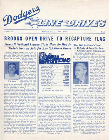 Brooklyn Dodgers Lines Drives Program 1955 Volume 14 No. 1 Walt Alston