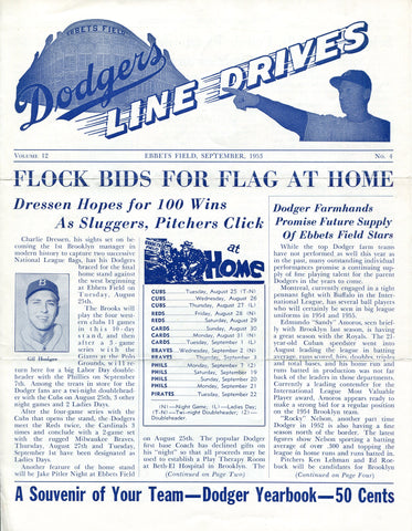 Brooklyn Dodgers Lines Drives Program 1953 Volume 12 No. 4 Gil Hodges