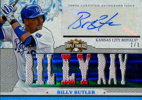 Billy Butler 2014 Triple Threads Game-Used/Autographed Card #2/3