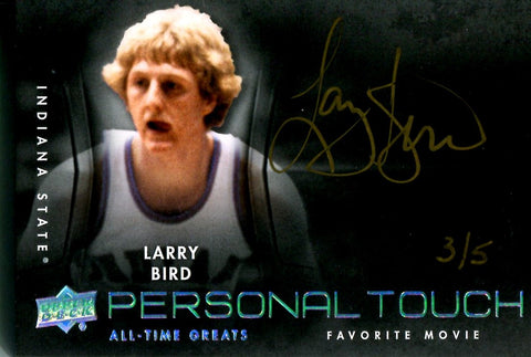 Larry Bird 2012 Upper Deck All-Time Greats Autographed Card #3/5