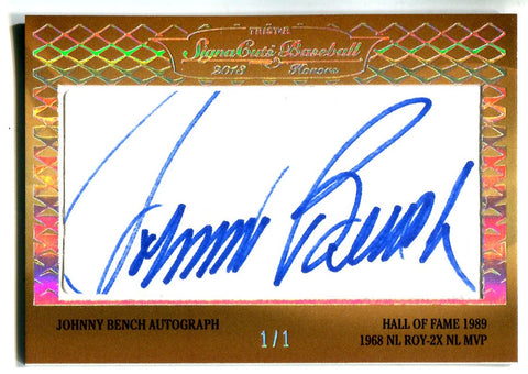 Johnny Bench & Stan Bahnsen 2013 SignaCuts Baseball Autographed #1/1