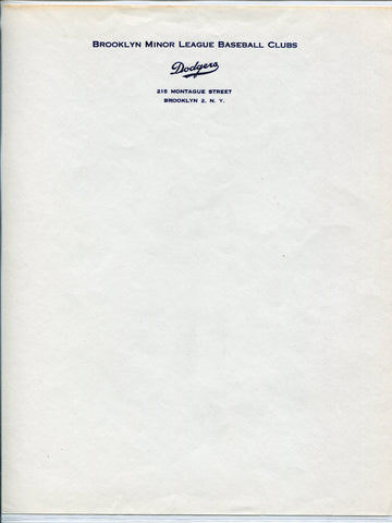 Brooklyn Minor League Baseball Clubs Original Letterhead